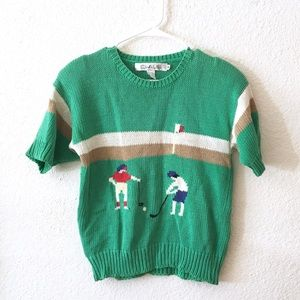 Vintage Knit Golf Sweater Short Sleeve Womens Top